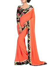 orange georgette bordered saree -  online shopping for Sarees