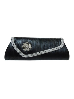 black leatherette  ethnic clutch