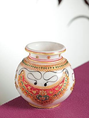 Buy Marble Pot With Jewels Design For Diwalinew Year By Aapno
