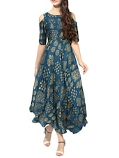Blue poly silk flared kurta -  online shopping for kurtas