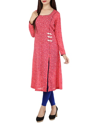 pink poly georgette high slit kurta -  online shopping for kurtas