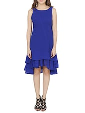 blue poly georgette ruffle dress -  online shopping for Dresses