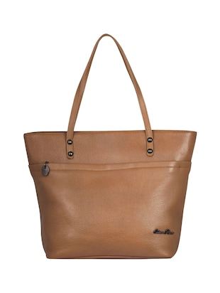 beige leather regular handbag