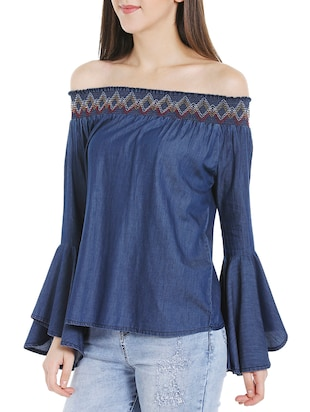 blue denim casual top - 14227276 - Standard Image - 2
