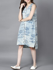 indibox hand block printed dabu shirt dress -  online shopping for Dresses