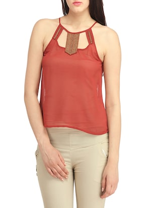 rust poly georgette regular top
