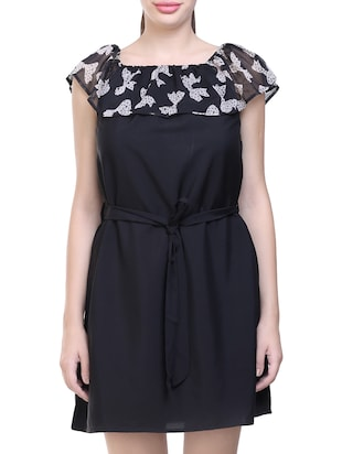 black printed poly crepe belted dress - 14231595 - Standard Image - 2