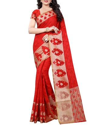 red cotton woven saree with blouse