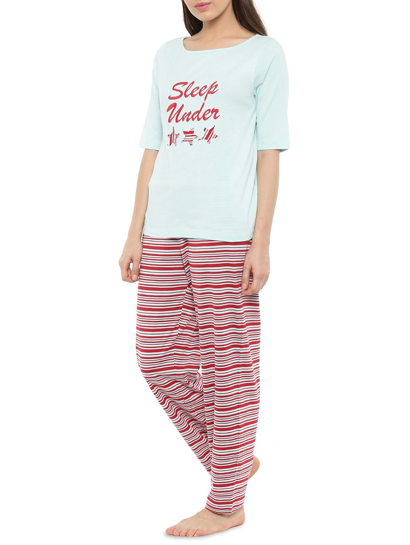Buy Light Blue Printed Cotton Pyjama Set by Mystere Paris - Online shopping  for Nightwear Sets in India  7d9399721