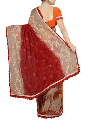 red chiffon embroidered saree with blouse - 14234833 - Standard Image - 2
