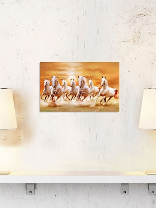 Sehaz Artworks Beautiful-white-horses-galloping-sunset Wooden Painting -  online shopping for Paintings