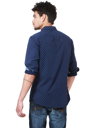 navy blue cotton casual shirt - 14238037 - Standard Image - 2