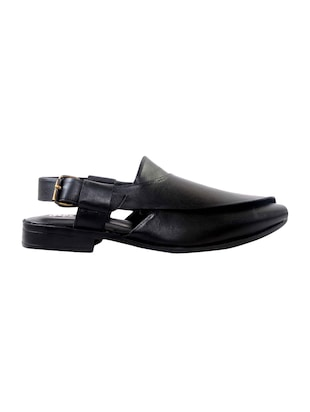 black Leather back strap sandal - 14242152 - Standard Image - 2