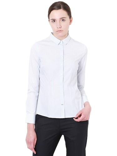 1762ee9561623 Buy Light Blue Printed Cotton Regular Shirt for Women from Van ...