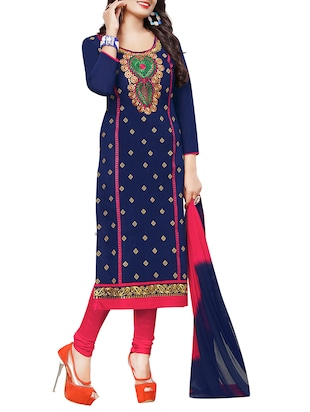 blue cotton embroidered un-stitched dress material