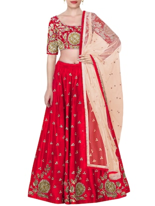 red raw silk embroidered flared lehenga