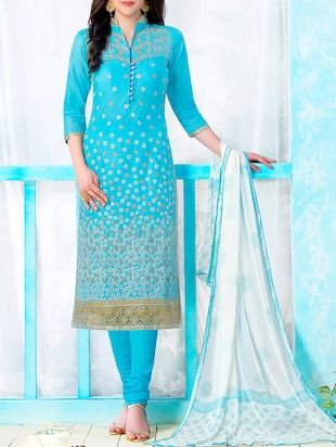 Sky blue cotton embroidered semi-stitched suit