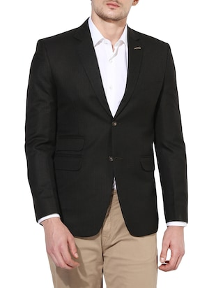 brown polyester formal blazer