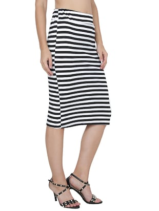 black striped lycra pencil skirt - 14262217 - Standard Image - 2