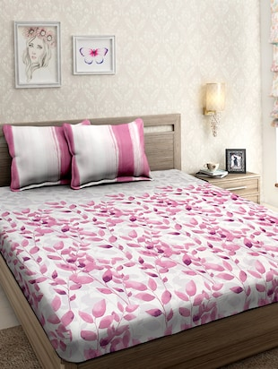 Premium Satin Cotton Super King Leaf Design Bed sheet with Two Pillow Cover