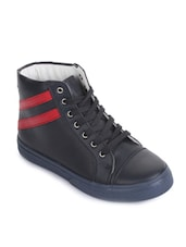 navy blue leatherette lace up sneaker -  online shopping for sneakers