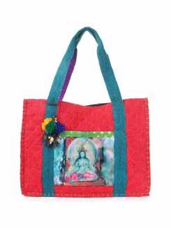 Red And Green Jute Bag - The House Of Tara