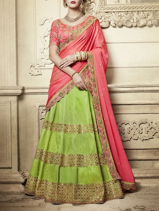 green silk flared lehenga