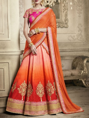 orange silk flared lehenga