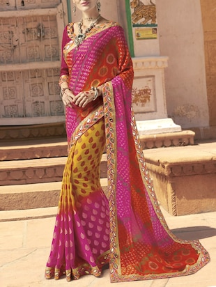 pink georgette printed saree with blouse