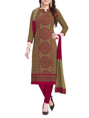 Green unstitched churidaar suit dress material