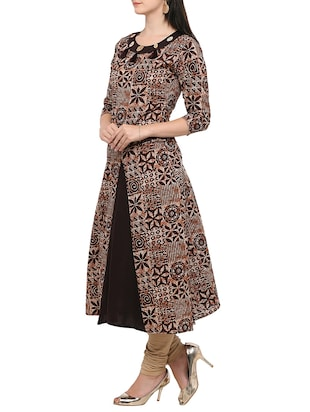 brown cotton flared kurta - 14319202 - Standard Image - 2