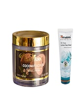Pink Root Coconut Scrub (100gm) With Himalaya Oil Clear Lemon Face Wash (100ml) Pack Of 2 - By
