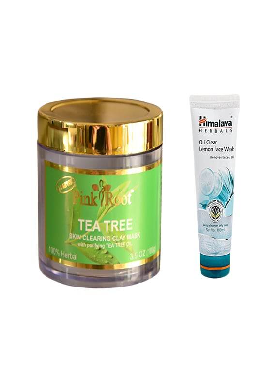 Pink Root Tea Tree Skin Clearing Clay Mask (100gm) With Himalaya Oil Clear Lemon Face Wash (100ml) Pack Of 2 - By