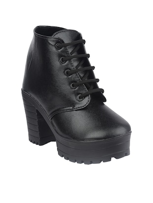 black synthetic ankle  boot