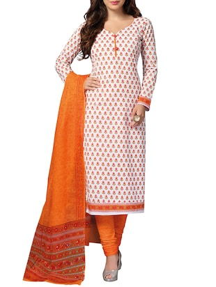 Orange unstitched churidaar suit dress material