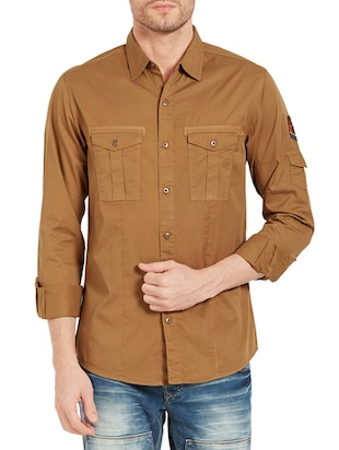 brown cotton casual shirt