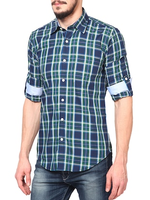 blue cotton casual shirt - 14335162 - Standard Image - 2