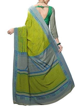 green silk blend printed saree with blouse - 14338642 - Standard Image - 2