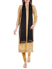 Black Chiffon Plain Dupatta - By