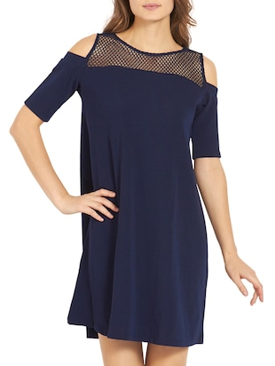 solid navy blue a-line dress