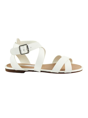 5b3d95f23 Buy White Pu Ankle Strap Sandals for Women from London Rag for ₹714 at 17%  off