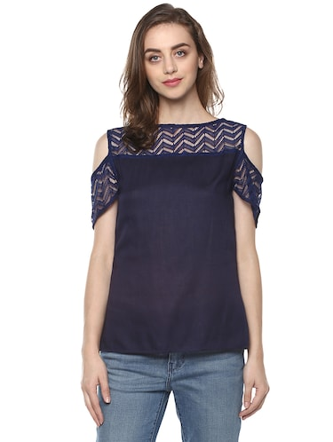 a6035ce1f2465e Buy Cold Shoulder Boat Neck Top for Women from Pannkh for ₹572 at 5 ...