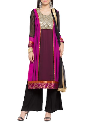 Magenta stitched palazzo suit