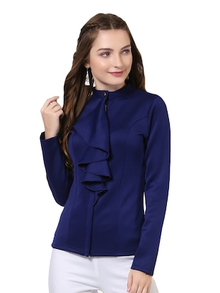 navy blue poly spandex ruffle jacket