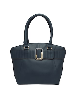 blue leatherette regular handbag