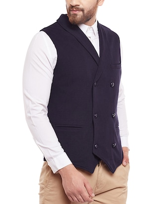 blue cotton waist coat - 14361018 - Standard Image - 2