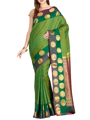 The Chennai Silks green kanjivaram saree with blouse