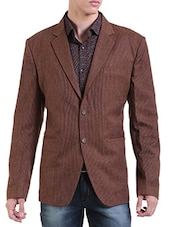 brown wool & polyester blend casual blazer -  online shopping for Casual Blazer