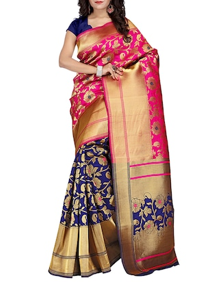 Pink & Blue Silk Blend Banarasi Saree