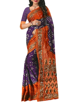 purple cotton silk bandhani saree with blouse